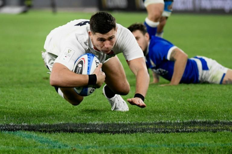 England's scrum-half Ben Youngs marked his 100th cap with two tries.