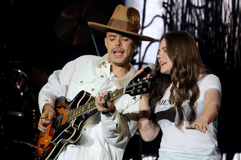 INGLEWOOD, CA - OCTOBER 13: Musician Jesse Huerta (L) and singer Joy Huerta of Jesse & Joy perform onstage as special guests during Marco Antonio Solis' 'Y La Historia Continua Tour' at The Forum on October 13, 2017 in Inglewood, California. (Photo by JC Olivera/Getty Images)