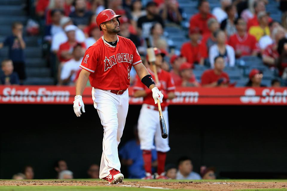 Albert Pujols hit his 631st career home run on Wednesday night, his 17th of the season, passing Ken Griffey Jr. on the all-time list. (Getty Images)