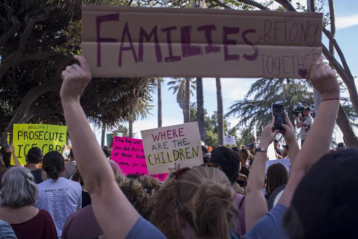 <p>People protest the Trump administration policy of separating children from parents arrested for illegally crossing the U.S.-Mexico border on Tuesday in Los Angeles. (Photo: David McNew/Getty Images) </p>