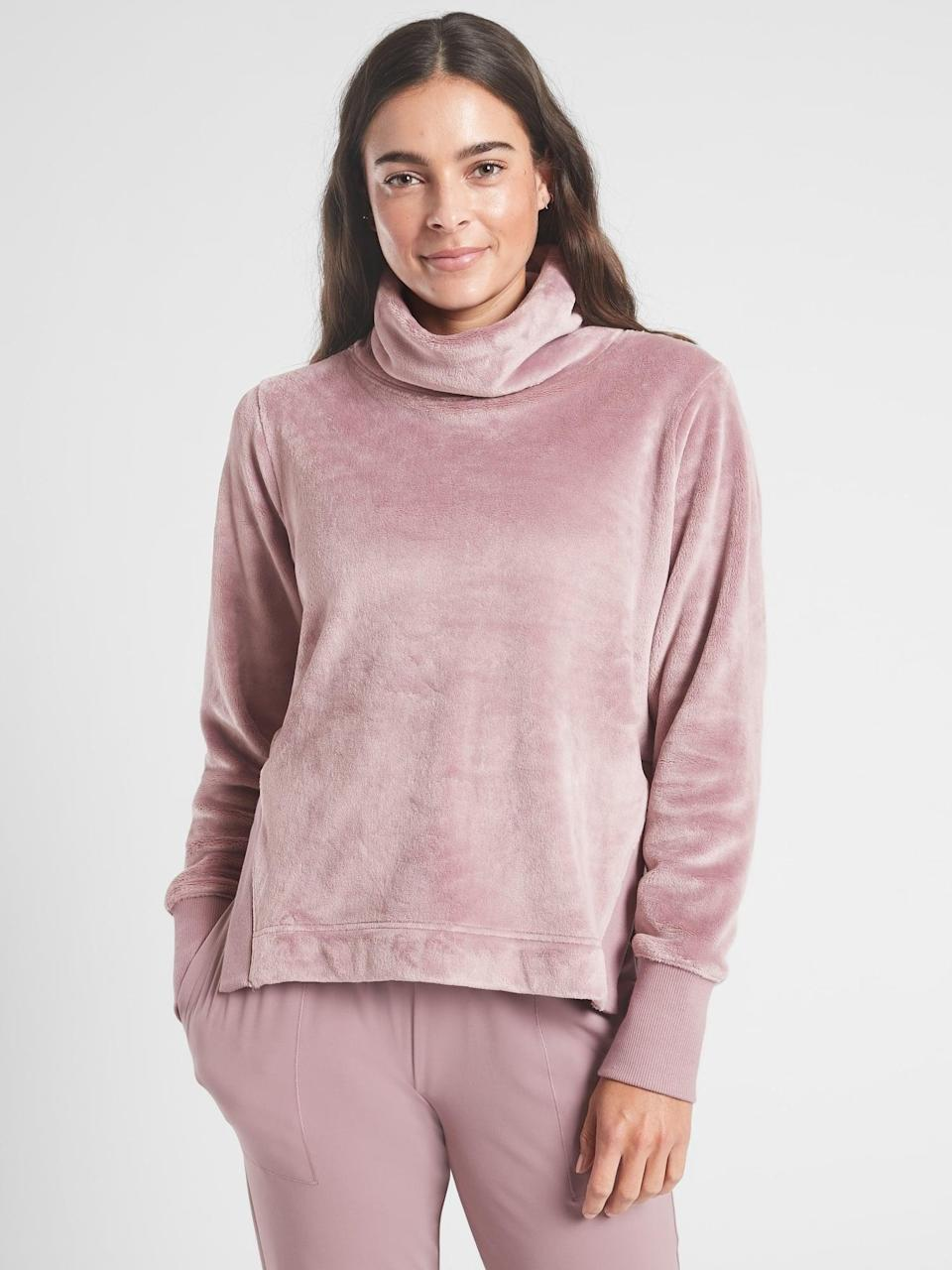 <p>We love the fabric of this <span>Athleta Double Cozy Karma Funnel Neck</span> ($98). It's so soft and luxe, the kind of item you throw on after yoga and end up staying in all day.</p>