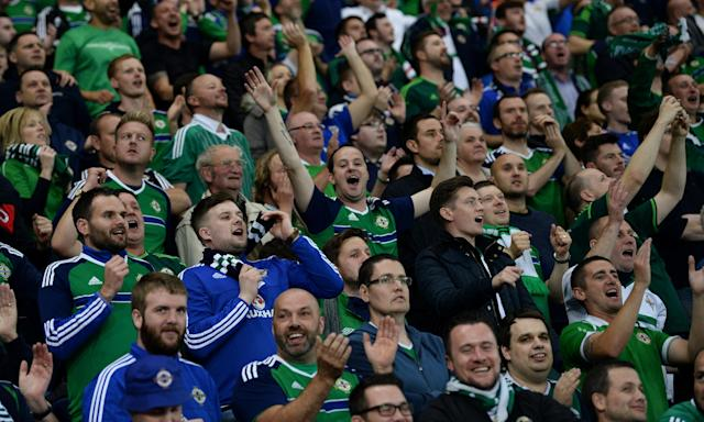 Soccer Football - 2018 World Cup Qualifications - Europe - Northern Ireland vs Czech Republic - Belfast, Britain - September 4, 2017 Northern Ireland fans REUTERS/Clodagh Kilcoyne
