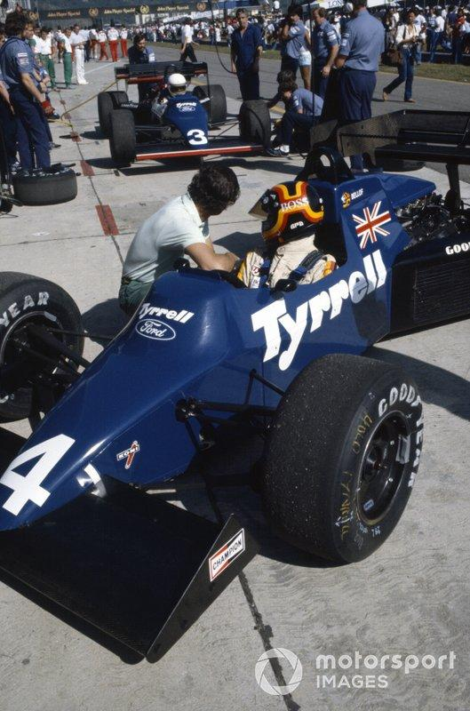 """Stefan Bellof, Tyrrell 012 Ford, with Martin Brundle <span class=""""copyright"""">LAT Images</span>"""