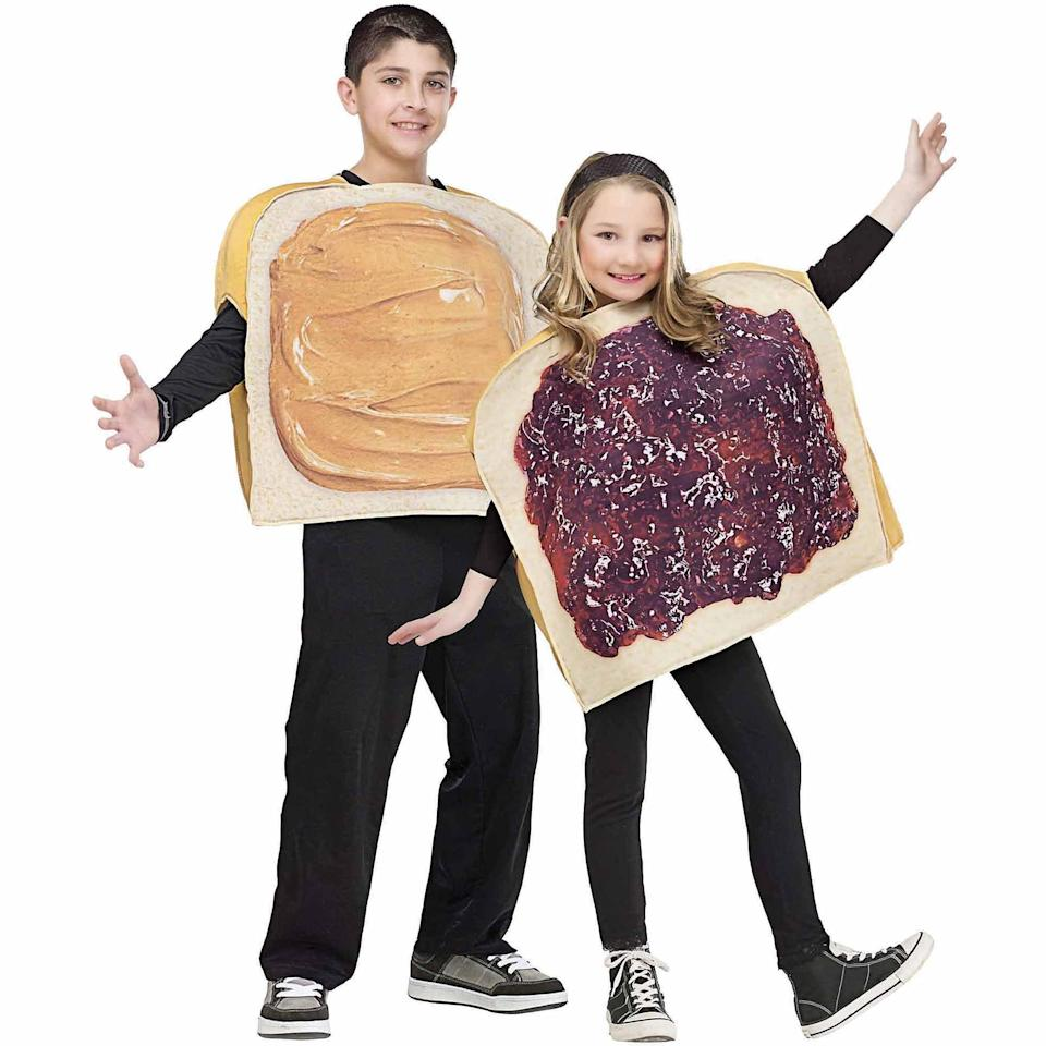<p>Give the kids actual slices of bread to hold while they wear their <span>Peanut Butter &amp; Jelly Childrens Halloween </span> ($43) costumes.</p>