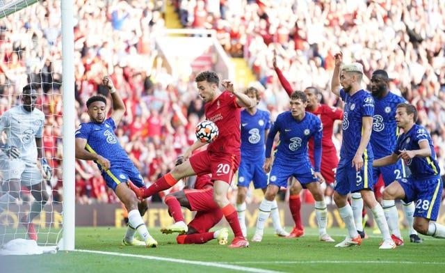 Chelsea's Reece James was sent off after handling on the line during his side's 1-1 draw at Liverpool