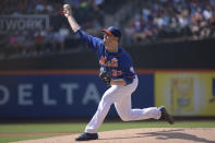 New York Mets pitcher Matt Harvey delivers to the Arizona Diamondbacks during the first inning of a baseball game Saturday, July 11, 2015, at Citi Field in New York. (AP Photo/Bill Kostroun)