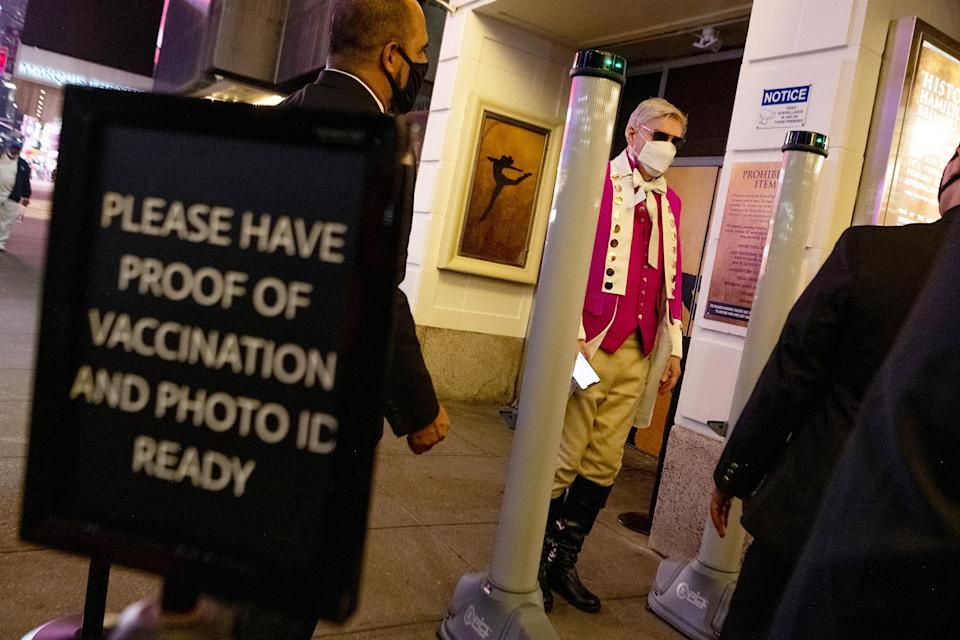 <p>Some even dressed the part! </p> <p>Audiences who wish to see a show must provide proof of vaccination and remain masked. Theater-goers under 12 years of age who can't be vaccinated can provide a negative COVID test. </p>