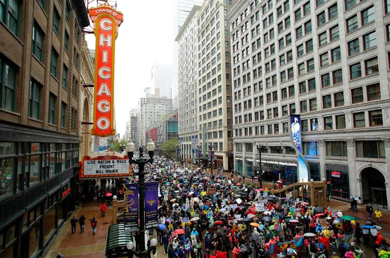 Demonstrators march in Chicago.