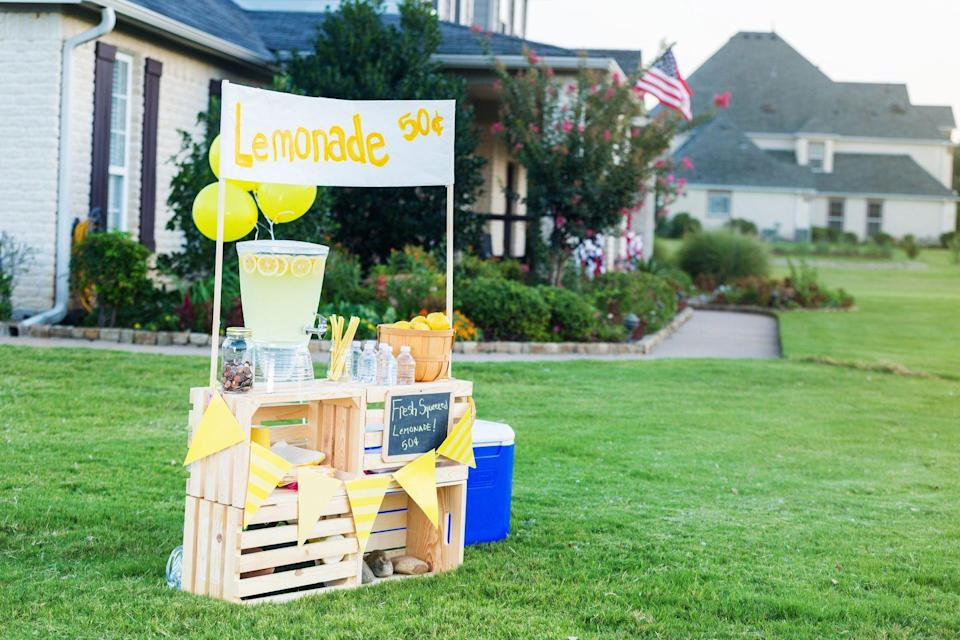 <p>Nothing says small town like a lemonade stand, which could be in any small rural or suburban town. </p>