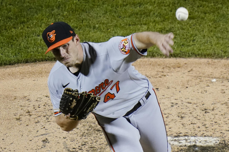 Baltimore Orioles' John Means delivers a pitch during the sixth inning of the team's baseball game against the New York Mets on Tuesday, May 11, 2021, in New York. (AP Photo/Frank Franklin II)