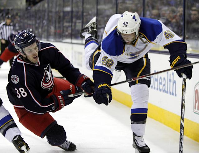 Columbus Blue Jackets' Boone Jenner, left, collides with St. Louis Blues' David Backes in the second period of an NHL hockey game in Columbus, Ohio, Saturday, Dec. 14, 2013. (AP Photo/Paul Vernon)