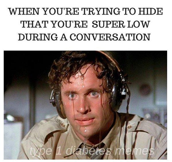 airplane movie meme of pilot sweating, when you're trying to hide that you're super low during a conversation