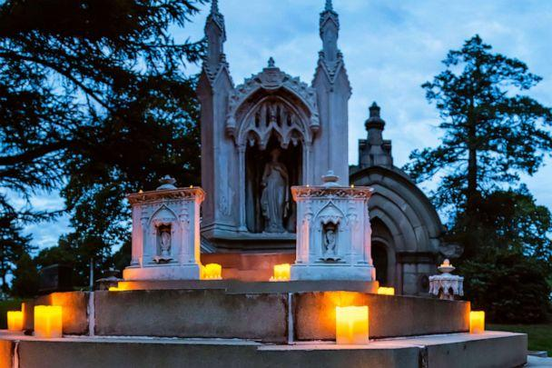 PHOTO: Charlotte Canda's monument at Green-Wood Cemetery in Brooklyn, N.Y., during 2018's Nightfall event. (Courtesy Green-Wood Cemetery)