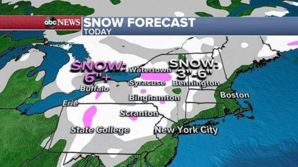 PHOTO: This same storm is now moving into the Northeast with a winter weather advisory from West Virginia to Maine and chilly rain for the I-95 corridor from Washington, D.C. to Boston. (ABC News)