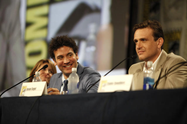 "(l-r); Josh Radnor and Jason Segel during the ""How I Met Your Mother"" Panel at Comic-Con 2013, held in San Diego, Ca."