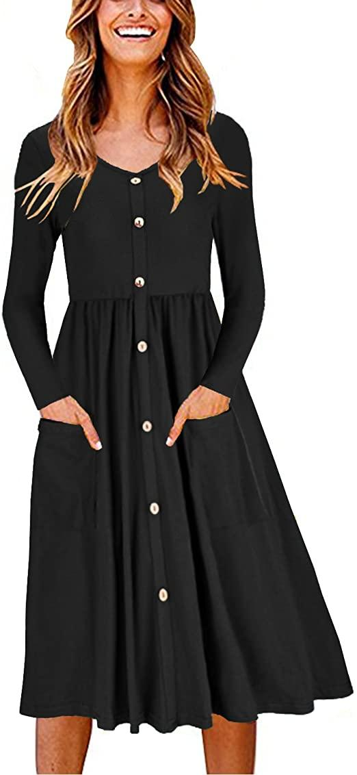 "<h2>Ouges Button Front Pocket Dress</h2><br>This slim, swingy dress looks like the ultimate fall staple — easy to wear either on its own or layered under a fisherman sweater as it gets colder. We might be on to something, because the frock's popularity just shot up 136%, cementing its sales rank at 242.<br><br><strong>Ouges</strong> Button Front Pocket Dress, $, available at <a href=""https://www.amazon.com/OUGES-Womens-Sleeve-Button-Pockets/dp/B07DVPJL2F/ref=zg_bsms_fashion_18"" rel=""nofollow noopener"" target=""_blank"" data-ylk=""slk:Amazon"" class=""link rapid-noclick-resp"">Amazon</a>"