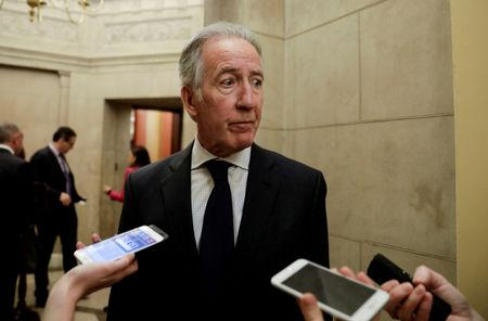 FILE PHOTO: House Ways and Means Committee Chairman Richard Neal discusses his request to IRS Commissioner Charles Rettig for copies of President Donald Trump's tax returns as he talks to reporters at the U.S. Capitol in Washington, U.S., April 4, 2019. REUTERS/Yuri Gripas/File Photo