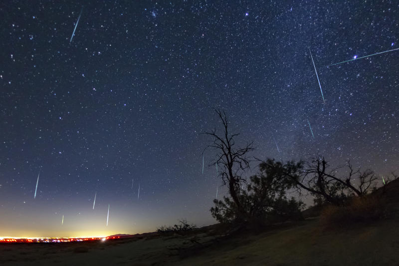 Picture of the Geminids meteor shower on 2017 at Anza-Borrego Desert State Park, it is suggested to view the shower from a national park, away from the city lights to best see the meteors