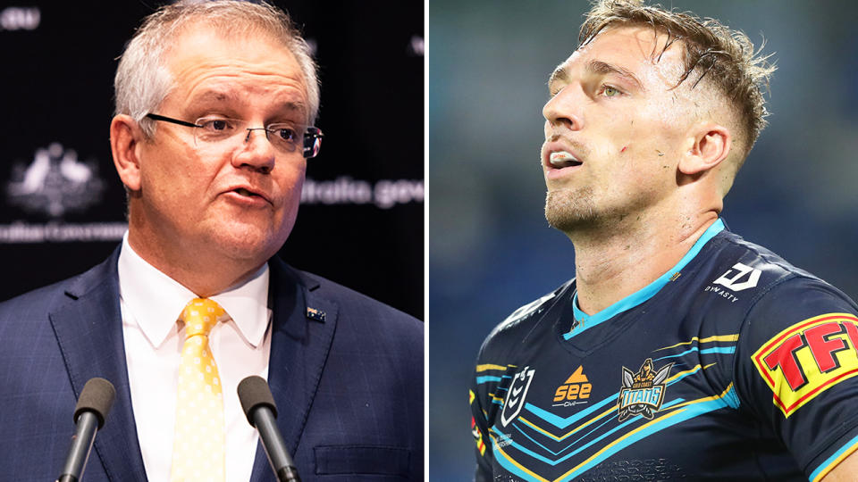 Bryce Cartwright and Scott Morrison, pictured here in the NRL and in Canberra.