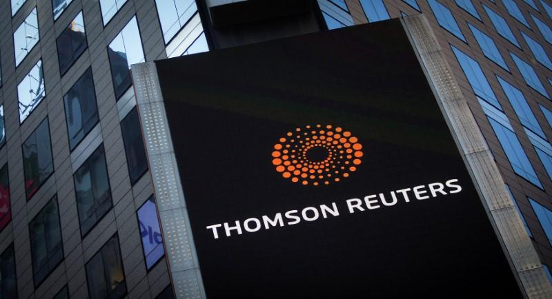 FILE PHOTO - The Thomson Reuters logo on building in Times Square, New York