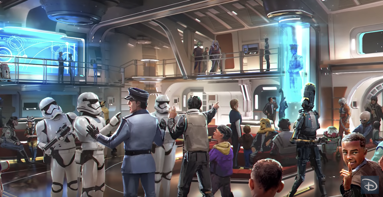 """Families can stay up to two nights at the planned """"Star Wars"""" hotel at Walt Disney World Resort in Orlando, depicted here in an artist's rendering. (Photo: Disney Parks via YouTube)"""