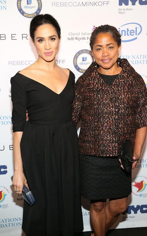 Doria Ragland with her daughter, Meghan Markle, in 2015 - Credit: Getty