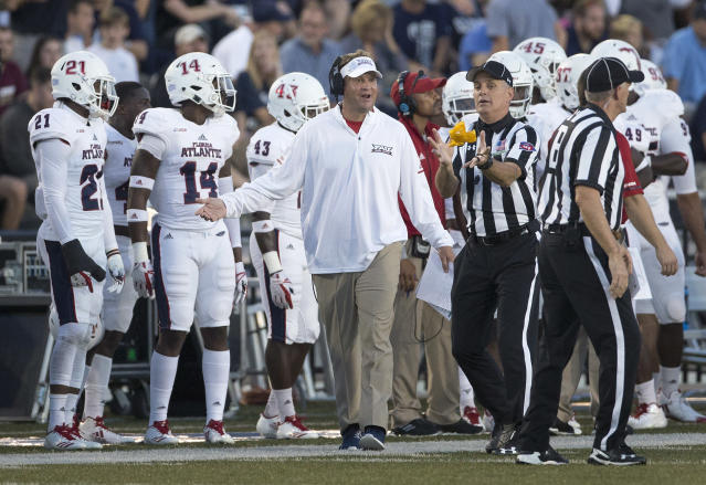 Lane Kiffin has Florida Atlantic off to a 5-0 start in Conference USA play. (L. Todd Spencer/The Virginian-Pilot via AP)
