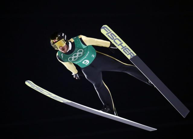 Ski Jumping - Pyeongchang 2018 Winter Olympics - Men's Team Trial round - Alpensia Ski Jumping Centre - Pyeongchang, South Korea - February 19, 2018 - Manuel Fettner of Austria competes. REUTERS/Dominic Ebenbichler