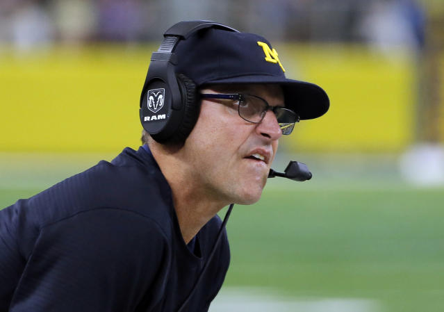Michigan's Jim Harbaugh had plenty to say about Purdue's facilities after the Wolverines beat Purdue on Saturday (AP)