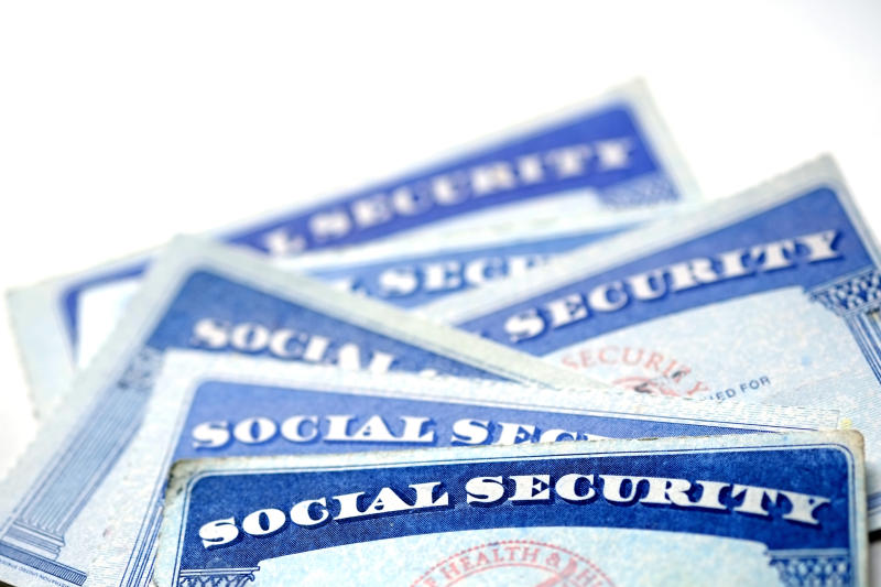 Stacked Social Security cards