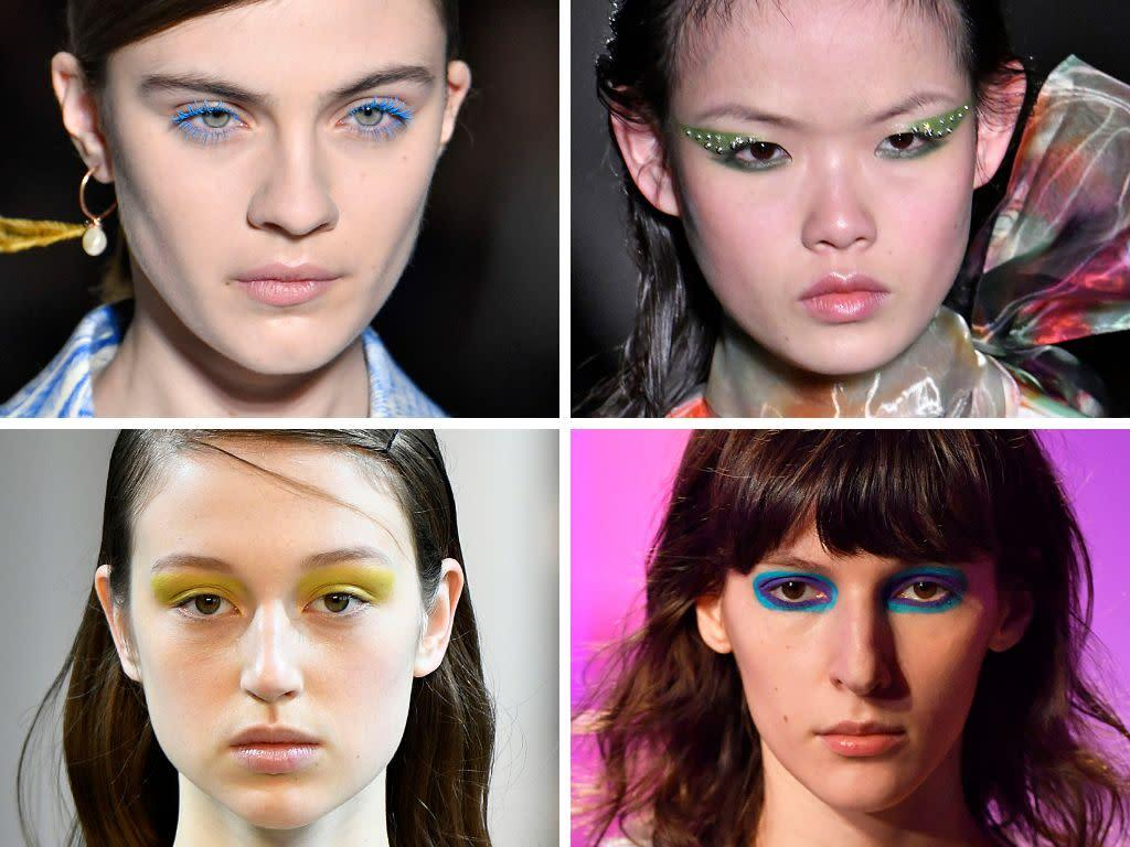 Aside from the pink and purple combo, we pretty much saw makeup looks done with all shades of the rainbow. At Dries Van Noten, models sported brightly colored eyelashes, while at Prada, eyelids were painted with colorful (and embellished) winged eyeliner.&nbsp;<br><br><i>(Clockwise from top left: Dries Van Noten, Prada, Sies Marjan, Noon by Noor)</i>
