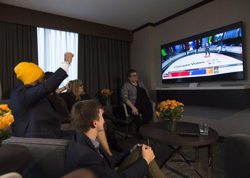 NDP Leader Jagmeet Singh reacts as he watches the Canadian election results come in at his hotel room in Burnaby, B.C., on Monday, October 21, 2019. THE CANADIAN PRESS/Nathan Denette