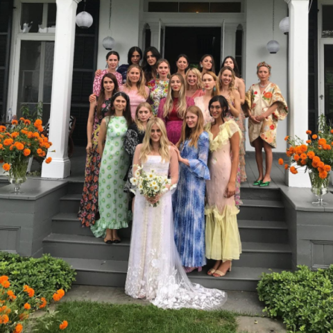 """<p>Mary-Kate and Ashley's friend avoided the mayhem often involved in assigning a particular dress or color for the bridesmaid's dress by simply telling her bridal party to wear <a rel=""""nofollow"""" href=""""http://www.elleuk.com/fashion/celebrity-style/news/a37270/mary-kate-ashley-olsen-fashion-bridesmaids-dresses/"""">florals</a>. The Olsens, obviously, did not <a rel=""""nofollow"""" href=""""https://www.instagram.com/p/BW3gg0KgXvr/?taken-by=kylemilleryoga"""">disappoint</a>.</p>"""