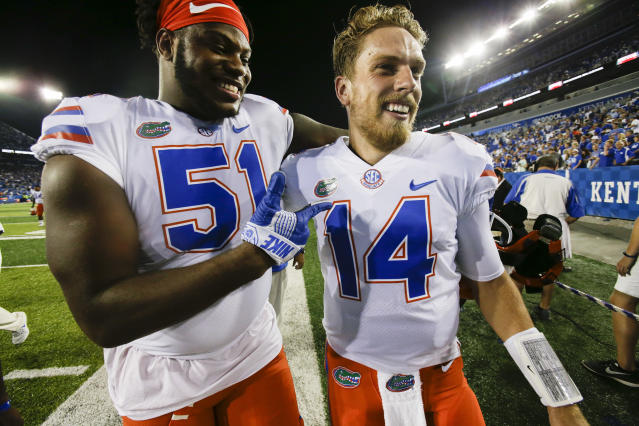 FILE – Del Rio (R) posted on his Twitter page Wednesday, Nov. 22, 2017, that he will be participating in Senior Day activities before the teams season finale Saturday against rival Florida State. (AP Photo/David Stephenson, File)