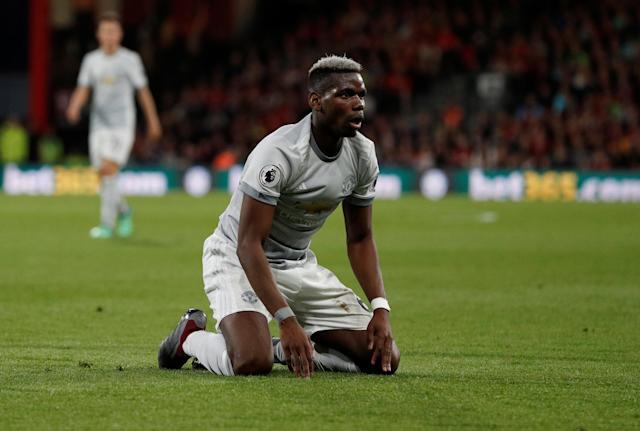 "Soccer Football - Premier League - AFC Bournemouth vs Manchester United - Vitality Stadium, Bournemouth, Britain - April 18, 2018 Manchester United's Paul Pogba reacts Action Images via Reuters/John Sibley EDITORIAL USE ONLY. No use with unauthorized audio, video, data, fixture lists, club/league logos or ""live"" services. Online in-match use limited to 75 images, no video emulation. No use in betting, games or single club/league/player publications. Please contact your account representative for further details."