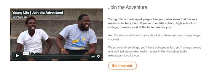 """Young Life's website (pictured in a screenshot) states that """"if you're in middle school, high school or college, there's a seat at the table here for you."""" (Photo: www.younglife.org / Screenshot)"""