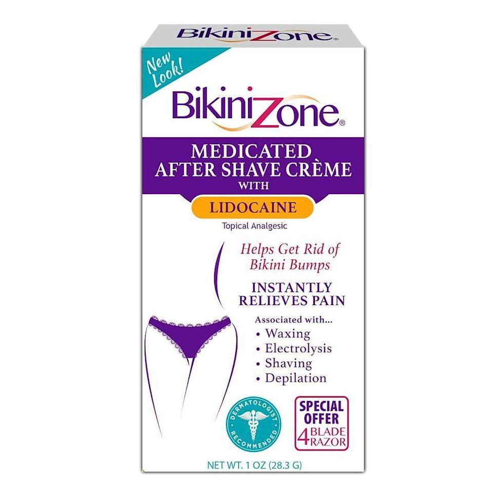 "<p><strong>Bikini Zone</strong></p><p>amazon.com</p><p><strong>$4.49</strong></p><p><a href=""https://www.amazon.com/dp/B0009R14YK?tag=syn-yahoo-20&ascsubtag=%5Bartid%7C2089.g.23610496%5Bsrc%7Cyahoo-us"" rel=""nofollow noopener"" target=""_blank"" data-ylk=""slk:Shop Now"" class=""link rapid-noclick-resp"">Shop Now</a></p><p>Chances are, you've had this in your medicine cabinet at least once in your life. And if you haven't yet, you should definitely give it a try: This tried-and-true formula is dermatologist-recommended for its immediate results that smooth away bumps and redness in a flash, all thanks to exfoliating ingredients like <a href=""https://www.healthline.com/health/beauty-skin-care/salicylic-acid-vs-benzoyl-peroxide"" rel=""nofollow noopener"" target=""_blank"" data-ylk=""slk:salicylic"" class=""link rapid-noclick-resp"">salicylic</a> and <a href=""https://www.verywellhealth.com/lactic-acid-skin-care-4178819"" rel=""nofollow noopener"" target=""_blank"" data-ylk=""slk:lactic acid"" class=""link rapid-noclick-resp"">lactic acid</a>.</p>"