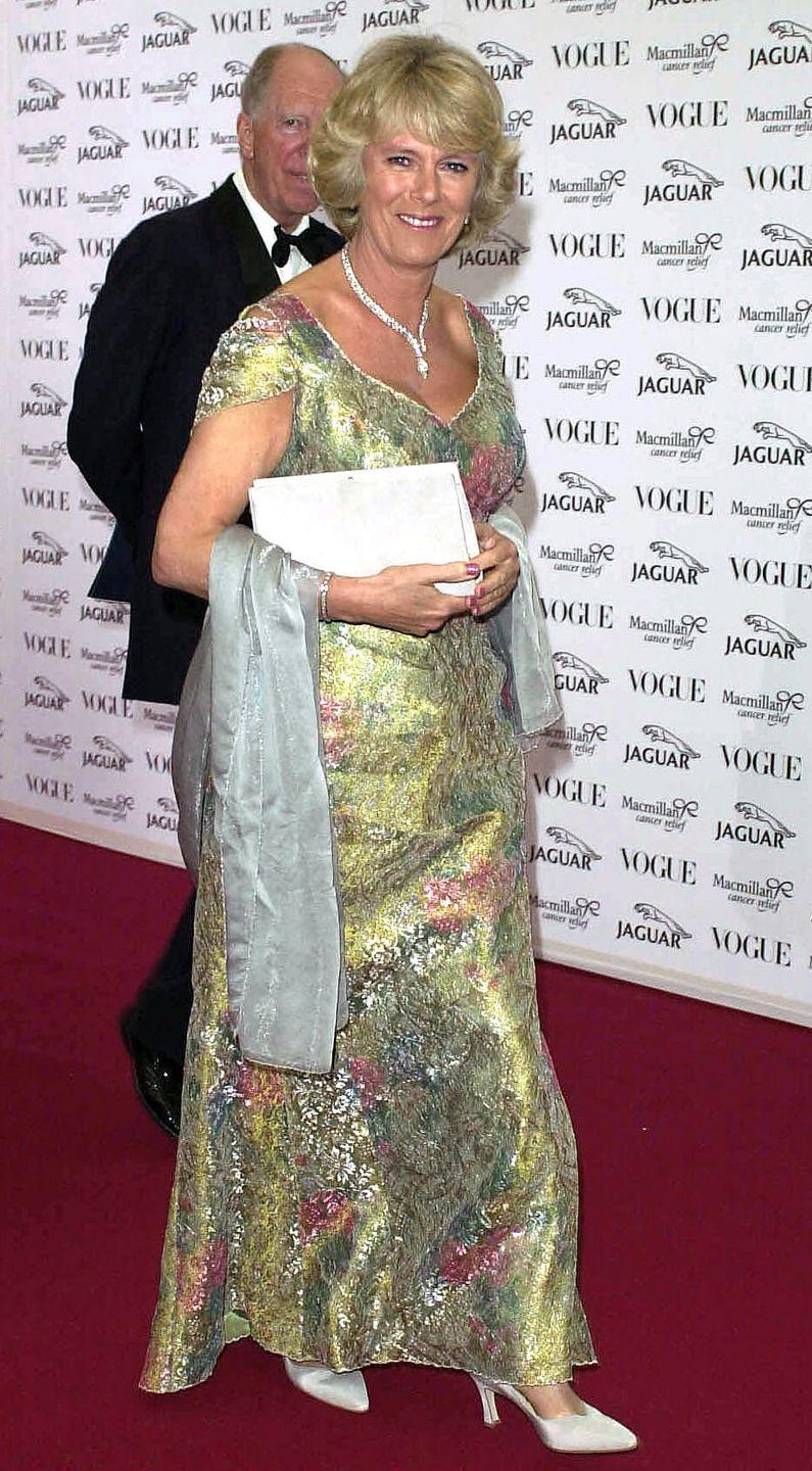 <p>For a cancer benefit hosted by hosted by Vogue and Jaguar, Camilla wore a metallic green floral gown with hints of pink and a serpentine diamond necklace. </p>