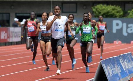May 26, 2018; Eugene, OR, USA: Caster Semenya (RSA) wins the women's 800m during the 44th Prefontaine Classic in an IAAF Diamond League meet at Hayward Field. The time is the fastest ever run in the United States. Mandatory Credit: Kirby Lee-USA TODAY Sports