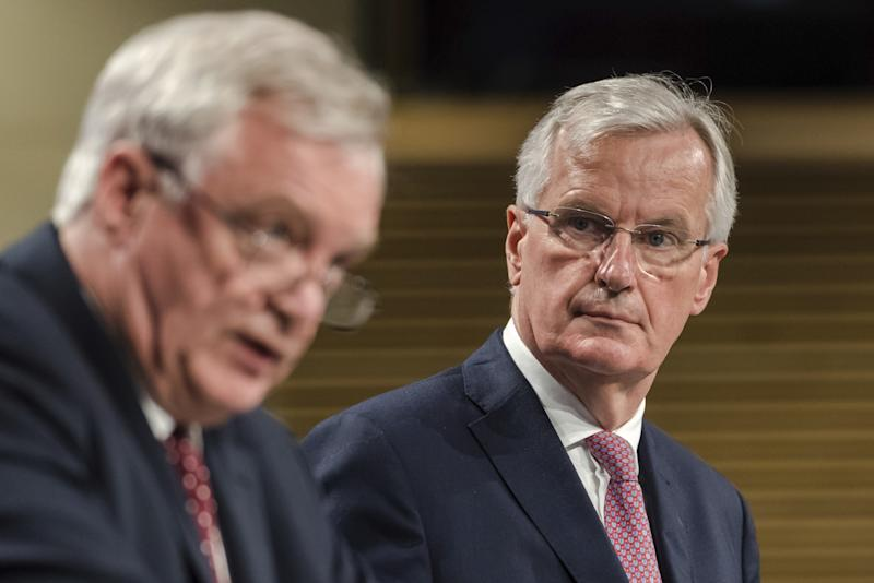 EU chief Brexit negotiator Michel Barnier, right, and UK Brexit Secretary David Davis have differing views on the progress of talks (AP Photo/Geert Vanden Wijngaert)
