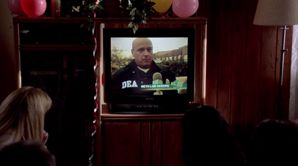 Guests at Walt's 50th birthday party watch his brother-in-law Hank Schrader (Dean Norris) discuss a meth lab bust on TV. (Screengrab: Netflix)