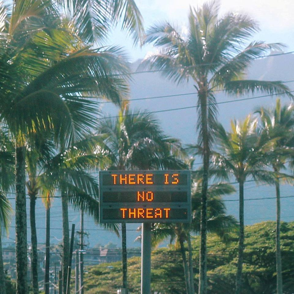 "An electronic sign reads ""There is no threat"" in Oahu, Hawaii, U.S., after a false emergency alert that said a ballistic missile was headed for Hawaii, in this January 13, 2018 photo obtained from social media.  Instagram/@sighpoutshrug/via REUTERS THIS IMAGE HAS BEEN SUPPLIED BY A THIRD PARTY. MANDATORY CREDIT.NO RESALES. NO ARCHIVES     TPX IMAGES OF THE DAY"