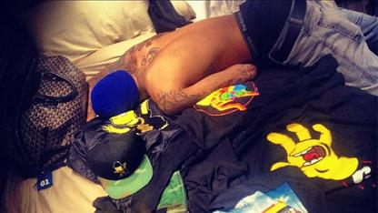 Chris Brown in Bed, Courtesy Rihanna