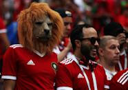 <p>Fight like lions: A Morocco fan boasts some animal-themed headwear which must surely have restricted their view. (Getty) </p>