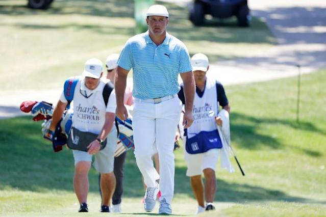 A bulked-up Bryson DeChambeau during the final round of the Charles Schwab Challenge (AFP Photo/Ron Jenkins)