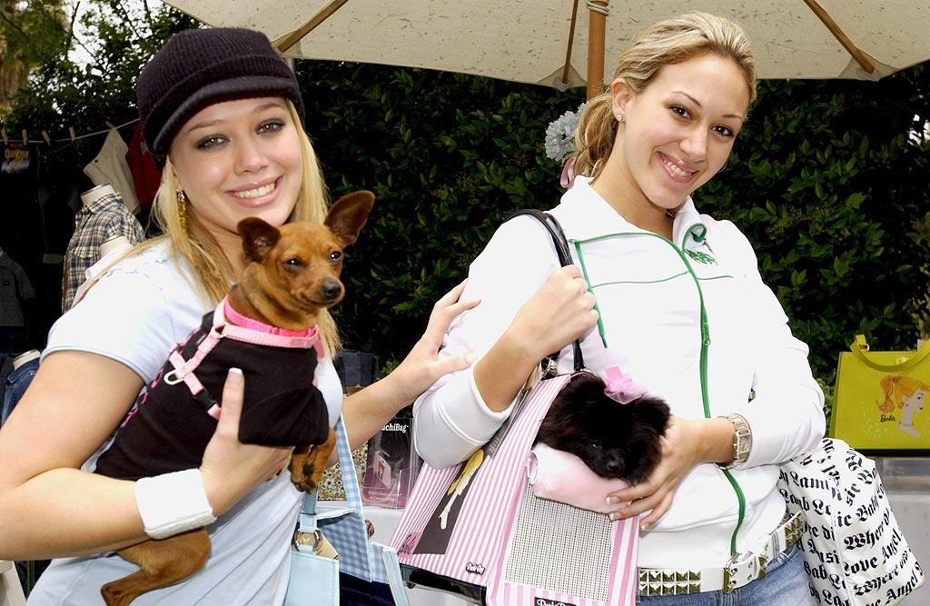 """Sisters Hilary and Haylie Duff with some furry friends. Chris Weeks/<a href=""""http://www.wireimage.com"""" target=""""new"""">WireImage.com</a> - April 17, 2004"""