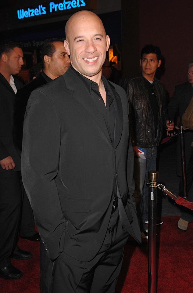 """<a href=""""http://movies.yahoo.com/movie/contributor/1800020716"""">Vin Diesel</a> at the Los Angeles premiere of <a href=""""http://movies.yahoo.com/movie/1809989992/info"""">Fast & Furious</a> - 03/12/2009"""