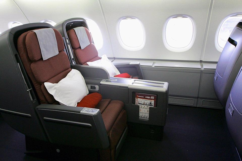 A general view of the new business class seats onboard the new Qantas A380