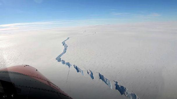 PHOTO: A chasm called the North Rift formed on the Brunt Ice Shelf is seen in Antarctica, Feb. 26, 2021. (British Antarctic Survey via Reuters)