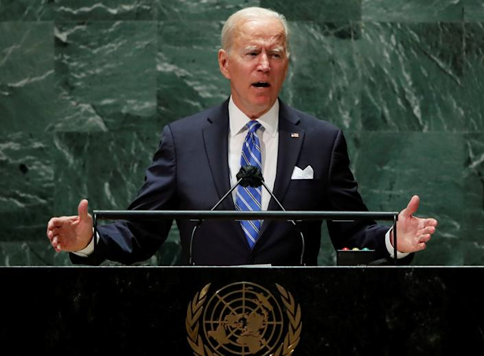 President Biden addresses the U.N. General Assembly in New York City on Tuesday.